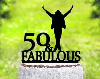 Michael Jackson Cake Topper, Michael Jackson Party,Michael Jackson Birthday,50 & Fabulous Cake Topper,50th Birthday Party Decor (2043)