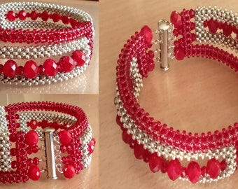 Ruby and silver beaded bracelet