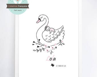 Swan print - Name-child (sold without frame)