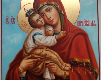 The Pochaev Icon of the Mother of God, handpainted icon, Russian Orthodox Icon