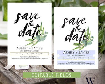 Save the date printable, Rustic save the date template, Eucalyptus save the date rustic, Greenery save the date cards, wedding idea shop