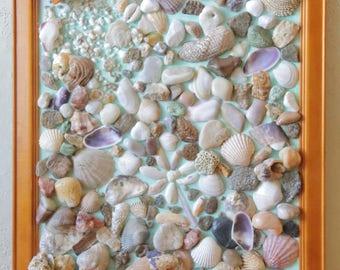 SEA OF PLENTY seashell mosaic art. Framed collage.