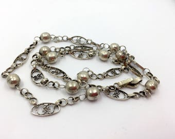 Long old vintage filigree worked with balls necklace, necklace