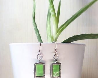Handmade Dangle Earrings, 925 Sterling Silver Hooks, Stained Glass, Tiffany Technique. Unique Christmas Gift!