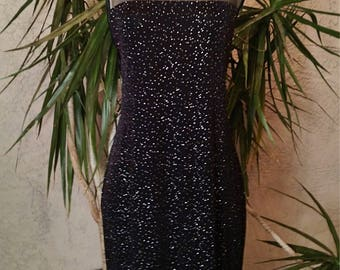 1990's black dress, sequins, mid length, sheer top, semi-formal, classy, fitted