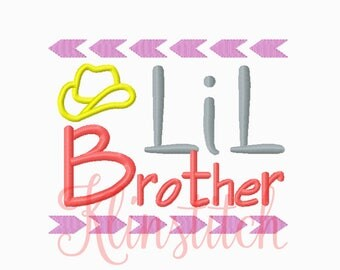 50% Sale!! Lil Brother Embroidery Designs 4x4, 5x7 Hoop Sizes For Girls Embroidery Designs PES Saying Embroidery - Instant Download