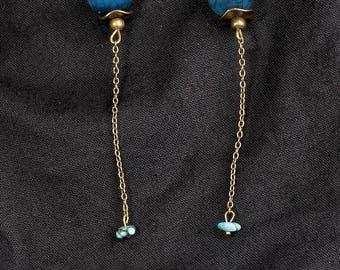 Pearl agate dangle earrings