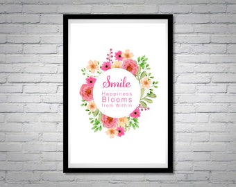 Happy Quotes digital prints, digital download, smile printable poster, Printable art, instant download, wall art, home decor