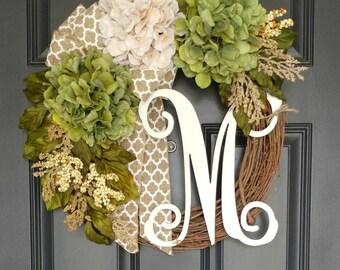 Spring Wreath For Door,Summer Wreath,Year Round Wreath,Front Door Wreath, Housewarming Gift,Mother's Day Gift,Personalized Monogramed Wreath