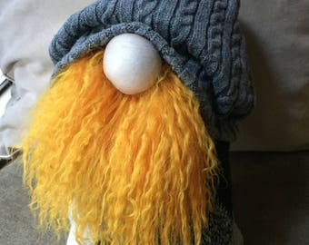 OOAK Scandinavian Tomte Gnome Portland Hipster Charming Upcycled Fabric Décor Argyle Sweater Cable Knit Slouchy Beanie Mohair Beard Large
