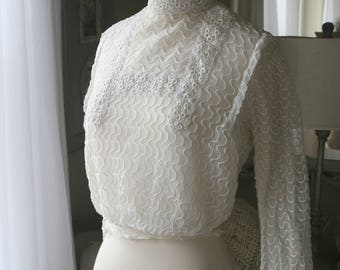 Antique Edwardian Off White Lace Net Blouse, Gibson Girl, high collar,  1900, 1910, vintage,