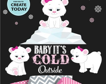 Baby Polar Bear Cliparts Set, pink bear, winter nursery, iceberg, snowflake, baby girl baby shower, girl bear party, winter wonderland DIY