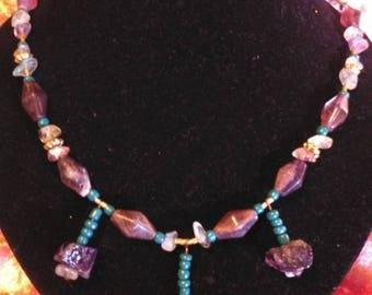 Amethyst beaded gemstone necklace handmade