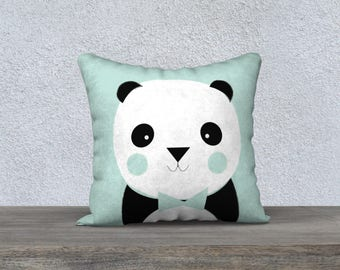 "Decorative pillow cover ""panda V"" green pillowcase pillow gift, baby-child decor pillow panda animal themed room"