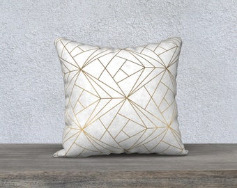Decorative pillow cover, pillow for living room, nursery illustration, geometric decor, cushion, pillows, gold and white, gold and white