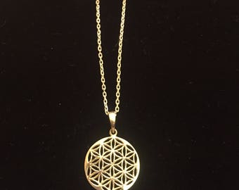 "Flower of Life, 925 Silver Pendant & 17"" Chain"