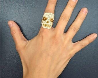 Skull Calavera Dia De Los Muertos Hand Beaded Mexico Ring