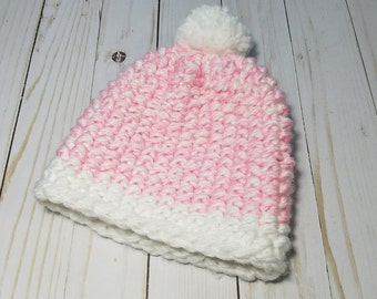 Hand Knit Pink Beanie and Matching Scarf for your little Girl