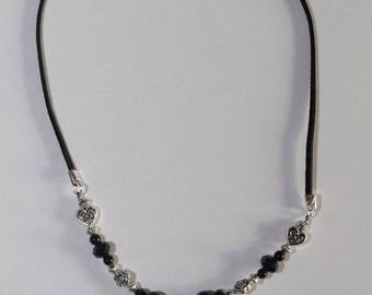 Silver and black baroque Swarovski Crystal Necklace adjustable