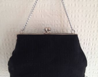 70's Black fabric snap-fastening purse with silver chain