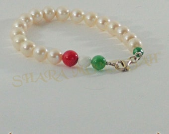 Bell'Italia-Silver bracelet, freshwater pearls and stones. Tricolor.