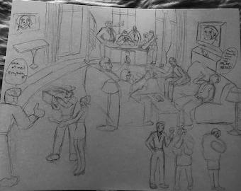 "Original Political Cartoon  by Ryan Perez, 9"" by 12"""