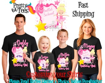 BALLERINA Birthday Girl Theme Family BLACK Shirts For the Entire Family Mom Dad Brother and More T-shirts Long/ Short sleeve Crown dance