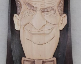 Louis de Funès Woodcarved portrait Woodcarving home decor Wooden wall art Wood carved souvenire Relief picture 3D wooden sign Woodcarved