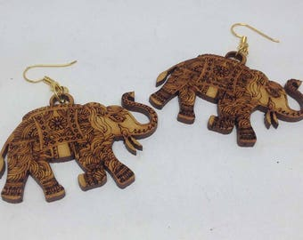 1 pair wooden earring - 50mm x 38mm - 1pair- sewing, wooden earring, apparels   - HA-02