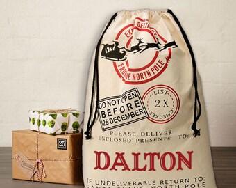 Christmas Santa's Bag PERSONALIZED with Child's name Santa Bag Regular and Large North Pole Bag Christmas Bag Santa Canvas Bag