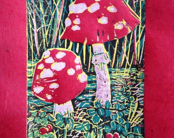 Amanita linocut reduction blockprint