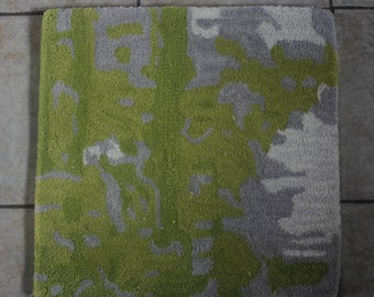 Unique Abstract  Green, Gray !00% Wool Rug Sample/Accent Rug 1X1
