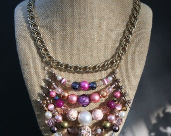 Purple, Pink and Gold Bead Bib Necklace