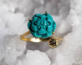 18k Gold with Turquoise Lotus Flower Open Ring