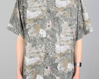 90s pattern shirt - vintage silk shirt - music print - 1990s button down shirt - short sleeve summer festival blouse - unisex men / women