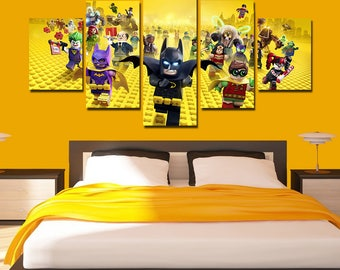 Lego Batman Canvas Art Lego Batman Poster Movie Print 5 Panel Home Art Wall  Decor Wall