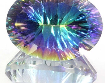 63.60Cts Natural Exquisite Rainbow Fire Mystic Topaz Oval Concave Cut Loose Gemstone