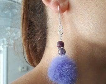 OOAK pom pom earrings,Tourmaline earrings,Celebrity earrings,Gift for her,Infinite love,Lavender drop earrings,Long earrings,Silver earrings