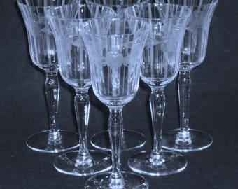 6 Fostoria Tiffin WINE GOBLETS clear Crystal Optic stemware glasses Flower Cut & vertical Needle Etch