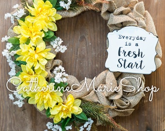 Fresh Start Burlap Wreath