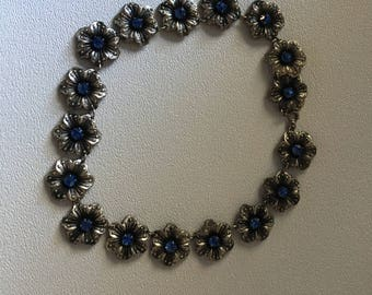 Vintage 1940s Silver Flowers with Cobalt Glass Crystal Necklace or Coker 13""
