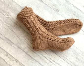 Casual Socks - Wool Socks - Casual Women Clothes - Women Socks - Casual Clothing for Women - Warm Socks - Brown Socks - Gift Socks