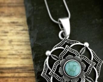 Ethnic necklace boho CHAKRA collar  turquesa