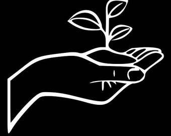 Hand Holding Plant nature decal sticker Laptop Window Car Truck woods vegan vegetarian simple clean