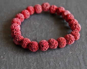 Spiritual Lava Rock Healing Diffuser Yoga Bracelet Light Weight Dyed Red