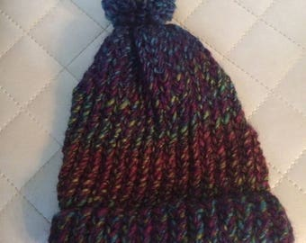 Kids Beanie with Pom Pom Purple Multi