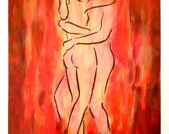 WARM BODIES - 9in x 12in (22.86cm x 30.48cm) - Acrylic on Paper - Erotic, Romantic, Nude, Abstract Art Original Painting by LeslieA.