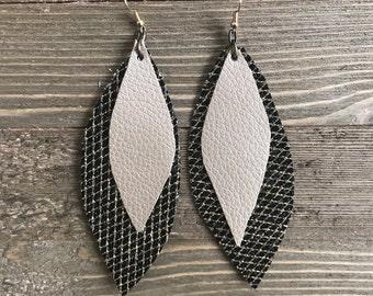 Black and Gold Leaf Shape Dangle Earrings