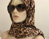 Long leopard print satin charmeuse scarf, women's accesssories, women's scarves, women's gifts