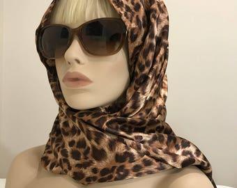 Long leopard print satin charmeuse scarf, women's accesssories, women's scarves, women's gifts